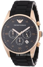 Emporio Armani Sportivo Black/Rose gold colored steel Ø43 mm AR5905