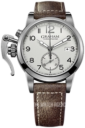 Graham Chronofighter Silver colored/Leather Ø42 mm 2CXAS.S01A