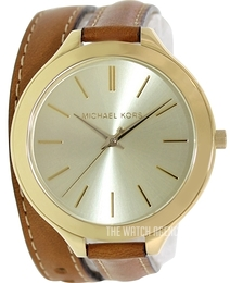 Michael Kors Runway Yellow gold toned/Leather Ø42 mm MK2256