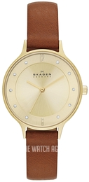 Skagen Anita Yellow gold toned/Leather Ø30 mm SKW2147
