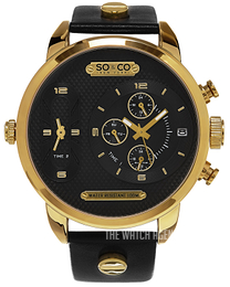 So & Co New York SoHo Black/Yellow gold toned steel Ø52 mm 5230.5