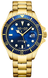 So & Co New York Yacht Timer Blue/Yellow gold toned steel Ø42 mm 5347.7