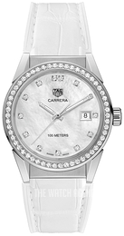 TAG Heuer Carrera Lady Silver colored/Rubber Ø36 mm WBG1315.FC6412