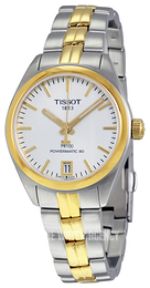 Tissot PR 100 Automatic Lady Silver colored/Yellow gold toned steel Ø33 mm T101.207.22.031.00