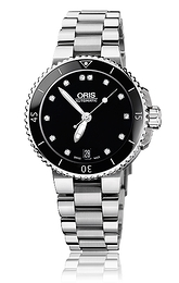 Oris Divers Aquis Date Diamonds Black/Steel Ø36 mm 01 733 7652 4194-07 8 18 01P